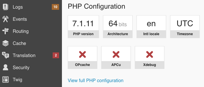 Link to the phpinfo page in the Symfony profiler configuration panel